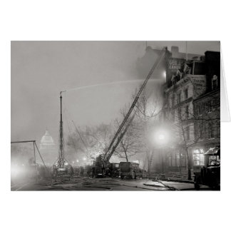 Five Alarm Fire at Night, 1925 Card