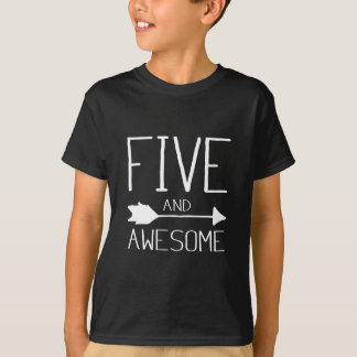 Five And Awesome 5th Birthday Gift T-Shirt