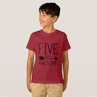 Five And Awesome 5th Birthday Gift T-Shirt (Light)