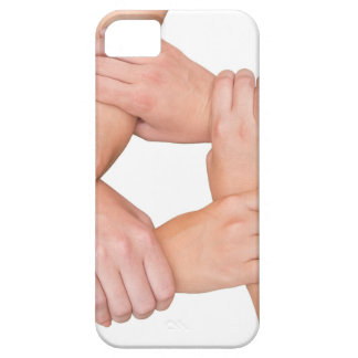 Five arms of children holding together on white case for the iPhone 5