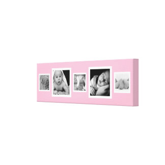 Five Baby Girl Photos on Pink Canvas Print