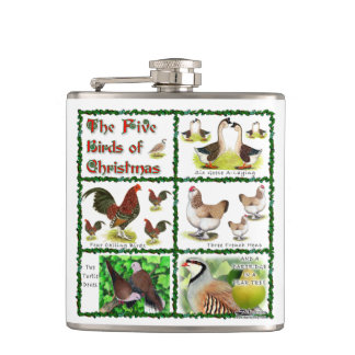 Five Birds of Christmas Flasks