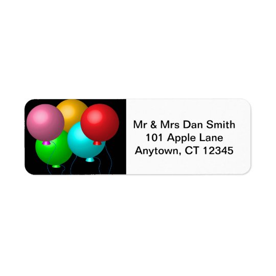 Five Birthday Balloons Return Address Label