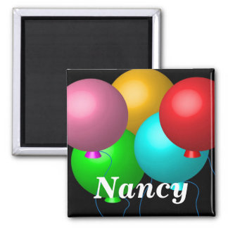 Five Birthday Balloons Square Magnet