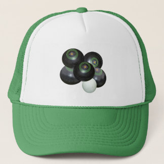 Five Black Lawn Bowls Stacked, Trucker Hat