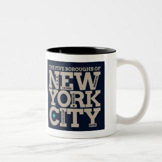 Five Bouroughs of New York Coffee Mug