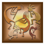 Five Brown Kokopellis Poster