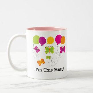 Five Butterflies I'm This Many Two-Tone Coffee Mug