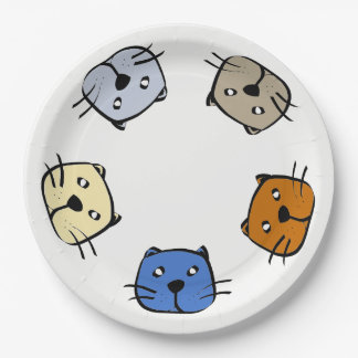 Five cats paper plate
