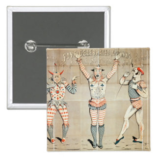 Five Celebrated Clowns Attached to Sands 2 Inch Square Button