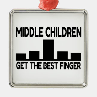 Five Children Middle Child Middle Finger Joke Metal Ornament