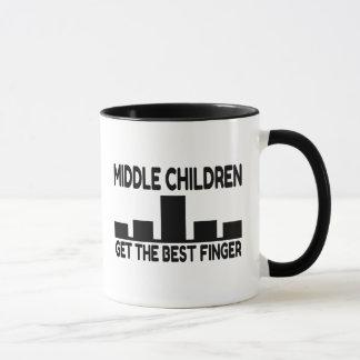 Five Children Middle Child Middle Finger Joke Mug