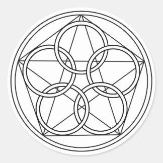 Five Circles Star Round Sticker