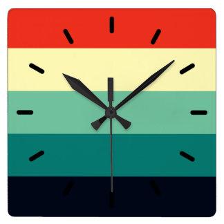 Five Color Combo - Blue Aqua Green Yellow Red Square Wall Clock