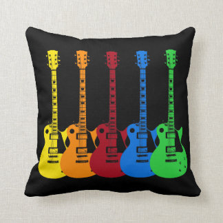 Five Colorful Electric Guitars Pillow