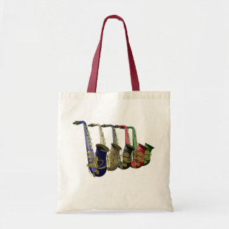 Five Colorful Saxophones Canvas Crafts & Shopping Tote Bag