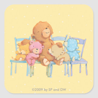 Five Cuddly and Colorful Bears On Chairs Square Sticker