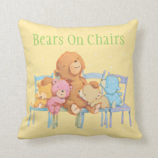 Five Cuddly and Colorful Bears On Chairs Throw Pillow