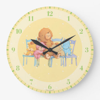 Five Cuddly and Colorful Bears On Chairs Wallclock