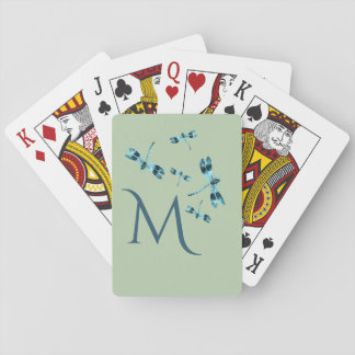 Five Cute Blue Vintage Dragonflies Monogram Playing Cards
