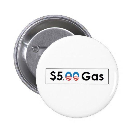 Five Dollar Gas Obama Pinback Buttons