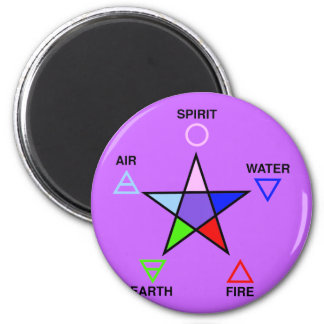 Five Elements and Pentagram 2 Inch Round Magnet