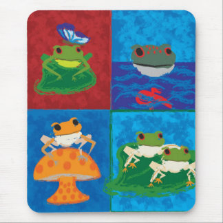 Five frogs mouse pad