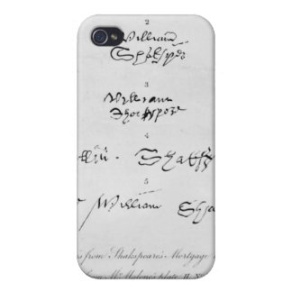 Five Genuine Autographs of William Shakespeare Covers For iPhone 4