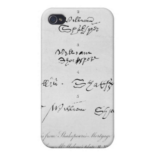 Five Genuine Autographs of William Shakespeare Case For iPhone 4