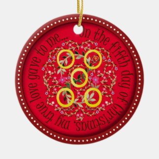 Five Gold rings Ceramic Ornament