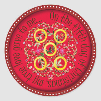Five gold rings classic round sticker