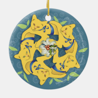 Five Golden Cats... double sided Ceramic Ornament