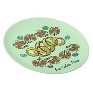 Five Golden Rings Decorative Plate