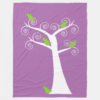 Five Green Birds in White Tree lavender purple Fleece Blanket