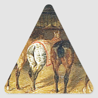 Five horses seen from behind with croupes triangle sticker
