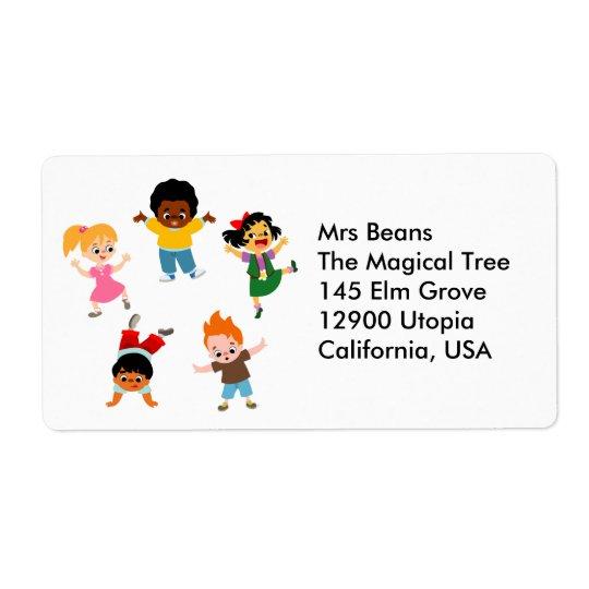 Five Kids Cartoon Avery Label