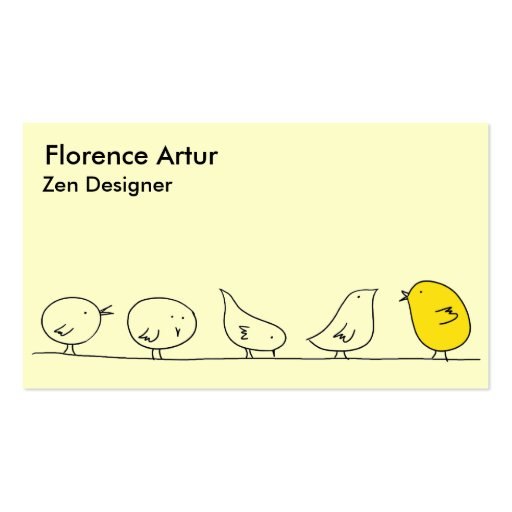 Five Little Birds - Yellow and Green Business Card Templates