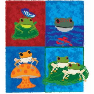 Five little frogs photo sculpture button