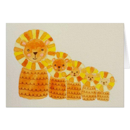 Five little lions card