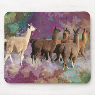 Five Llama Cloud Walk Fantasy White & Brown LLamas Mouse Pad