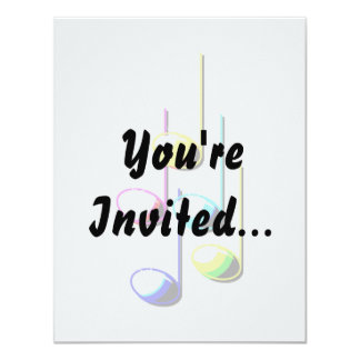 "Five Music Notes in colours Musician Graphic 4.25"" X 5.5"" Invitation Card"