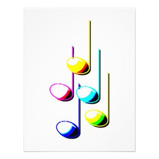 Five Music Notes in colours Musician Graphic Invites