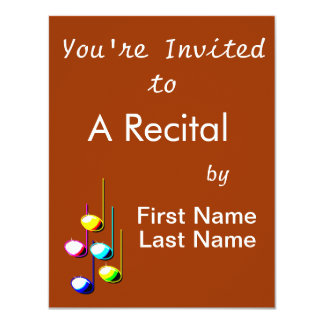 Five Music Notes in colours Musician Graphic Invite