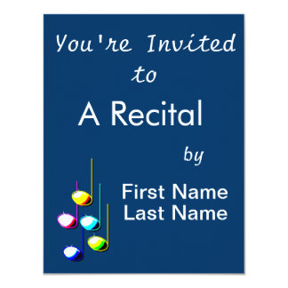 """Five Music Notes in colours Musician Graphic 4.25"""" X 5.5"""" Invitation Card"""