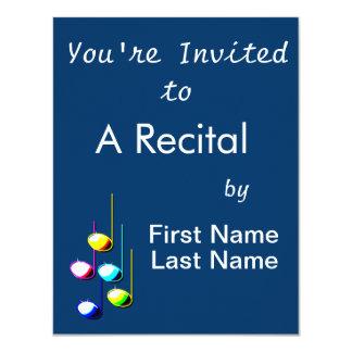 Five Music Notes in colours Musician Graphic Invitation