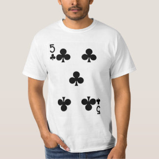 Five of Clubs Playing Card T-Shirt