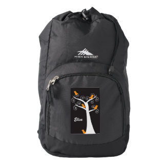Five Orange Birds in a Tree Black Personalize Backpack