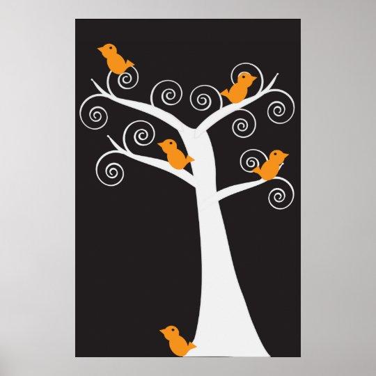 Five Orange Birds in a Tree Poster