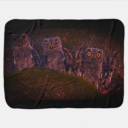 Five Owls in an Oak Hollow Baby Blankets