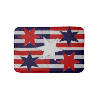 Five Patriotic Stars & Stripes Bath Mat